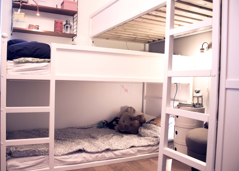 closeup bunk bed for three - kids room