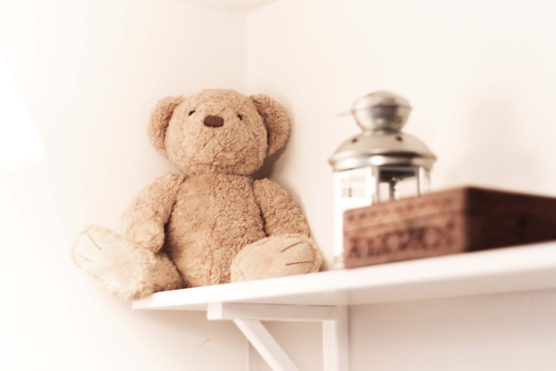Shelf detail kids room teddy bear