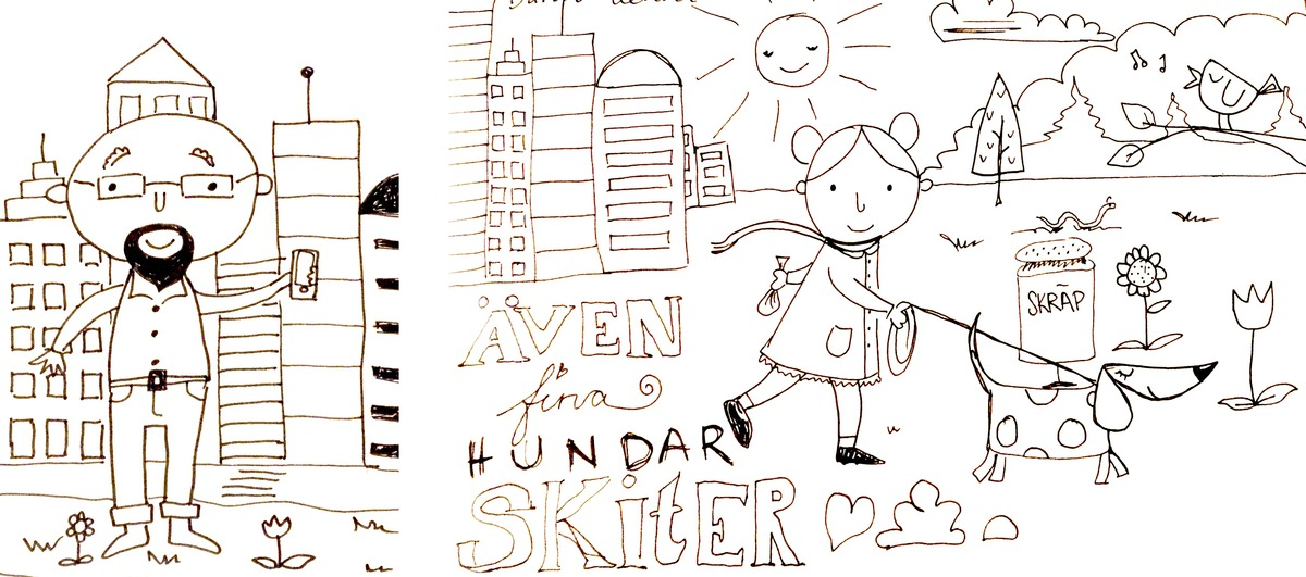 drawings of a hipster in a city and a girl walking a dog