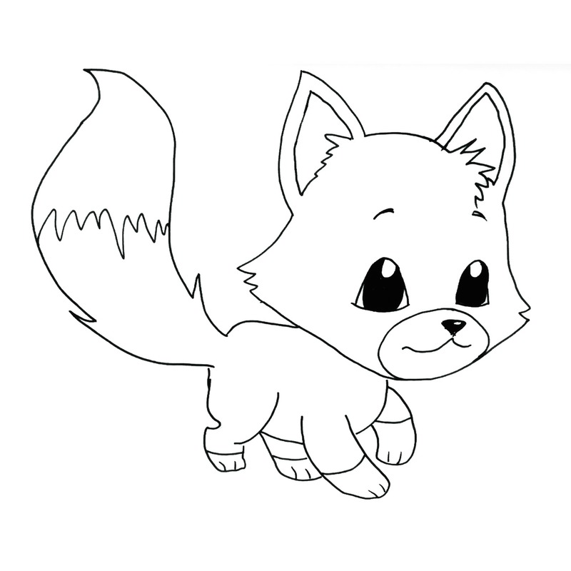 ink drawn little manga fox