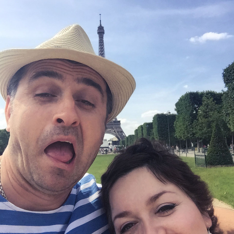 Goofing around by the Eiffel Tower