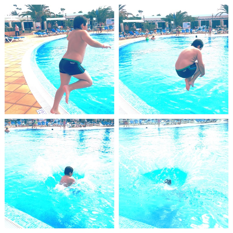 Jonathan jumping in to the pool